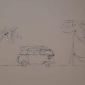 תמונת קיר – מכונית עם דקלים וערסל